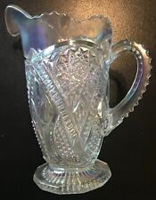 Mosser Glass Opal Iridized White Carnival Yesteryear Pitcher Viking Mold