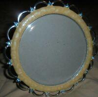 "PRIDE Round Rhinestone Silver-Caramel Photo Frame Ornate Decor  4.5 x4.5""     60"
