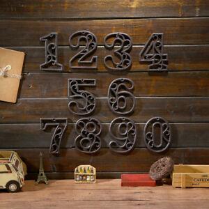 Metal Number Door Plate Cast Iron Digital Cafe Wall Plaque Bar Home Plaques