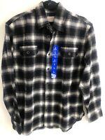 D32) Jachs Men's Long Sleeve Flannel Brawny Flannel Shirt black large