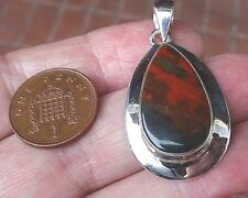 Superb Stylish Sterling Silver and Bloodstone Pendant 7.6g Heliotrope
