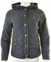 JACK WILLS Womens Quilted Jacket UK 8 Small Navy Blue Nylon Loose Fit  IR06
