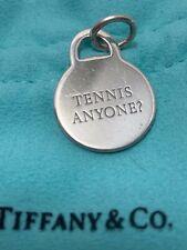 Tiffany & Co TENNIS ANYONE? CHARM TAG Pendant 925 Sterling Silver Pouch & Box