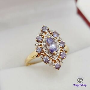 9ct Gold Ring Natural Tanzanite Diamond Ring Size L - 6