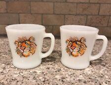 Set 2 Vtg Fire King Anchor Hocking Tiger Esso Exxon Promo Coffee Mug Cup Glass