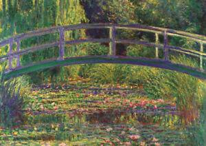 Monet - Water Lilies and the bridge - HUGE A1 59.4x84cm Canvas Print Unframed