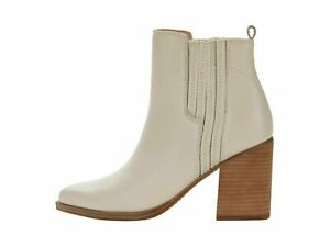 Steve Madden Karley Bone Women's Western Block Heel Leather Ankle Booties