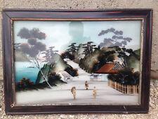 Ancien cadre en bois vintage et peinture asiatique sur verre japonisant nacre