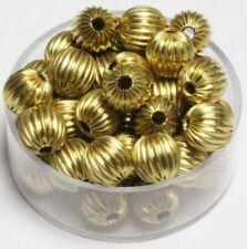 Brass 8 mm Round Corrugated Beads Pkg. Of 100 ( Raw Brass hollow Beads )