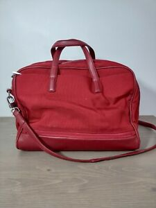 Tumi Weekender Red Ballistic Nylon Leather Carry On Travel Bag Tote 43061RF