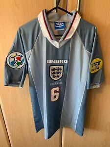 ENGLAND RETRO EURO 96 AWAY FOOTBALL SHIRT SOUTHGATE 6 VILLA, PALACE, BORO Large