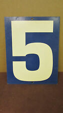 Vintage Blue Two-Sided 5/6  Tin Metal Gas Station Price Number Sign S58