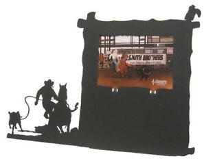 Calf roping black metal 8x10V award picture frame