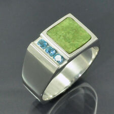 Swiss Blue Topaz and Gaspeite Inlay Silver Ring