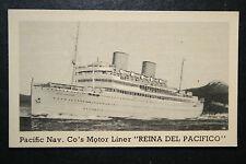 REINA DEL PACIFICO  Pacific Steam Navigation Co  Vintage B/W Photo Card # VGC