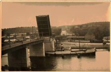 Antique Vintage Photograph Boat Going Through Draw Bridge Lift in Water