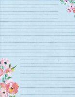 Floral Trimmed Lined Stationery Writing Paper Set, 25 sheets & 10 envelopes
