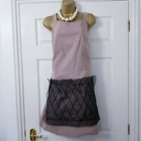 JIL SANDER Pencil Dress Sz 42 UK 14 Beige Silk Blend Beads Minimalist Made Italy