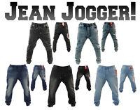 NEW MEN WT-02 JEAN STYLE JOGGER ELASTIC WAIST DROP SWEAT PANTS DENIM 14391-1596