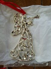 Lenox Sparkle And Scroll Clear Crystal Silverplate Angel Ornament.