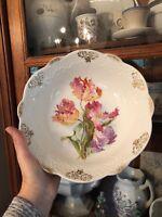 """Antique Floral Parrot Tulips Gilt Porcelain 9"""" Serving Bowl Easter Holiday"""