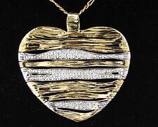 ROBERTO COIN DESIGNER SIGNED DIAMOND RUBY ELEPHANT SKIN HEART 18K GOLD PENDANT