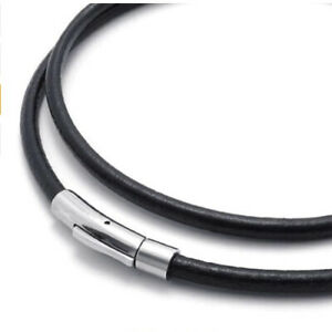 Genuine leather thong cord 4mm mens necklace stainless steel bayonet clasp