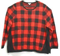 J Jill Women's Size XL Plaid U-Neck Pullover Long Sleeved Sweater