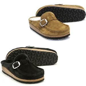 Womens Birkenstock Buckley Shearling Suede Clog Shoes NEW