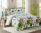 3+Piece+Quilted+Bedspread+Throw+Comforter+White+Watercolour+Throw+2+PILLOWCASES