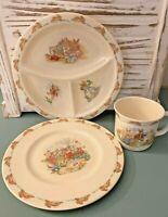 Royal Doulton Bunnykins Child's Set- Divided Plate, Small Plate & Mug-Bone China