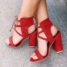 Womens Ankle Strap Sexy Open Toe Sandals High Block Heels Party Shoes Size 5-9.5