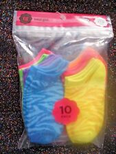 TOTAL GIRL 10 PAIR LOW CUT SOCKS-SMALL FITS SHOE SIZE 7-10-ANIMAL PRINT