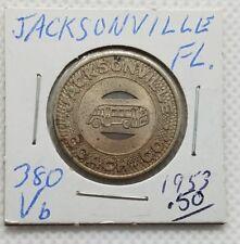 New listing Jacksonville Coach Co. (Florida) transit token - Fl380Vb ☆ 1953 ☆ School Fare ☆