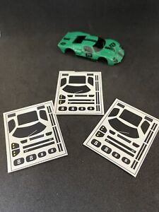 Window decals for AFX GT40 HO slot car bodies with stripes and numbers
