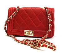Ladies red GENUINE LEATHER  Hand bag Quilted Shoulder bag Cross Body Italy Made