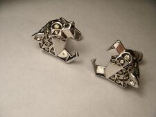 Handsome 14K White Gold Tiger Art Deco Diamond Mens Cufflinks