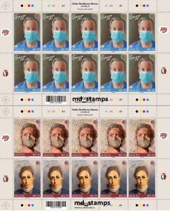 Malta 2021 Set of Full Sheet Malta Healthcare Heroes - fighting Pandemic &Virus