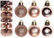 24pk 3cm Small Festive Rose Gold Christmas Tree Bauble Decor Glitter Ornament