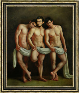 "Original Oil Painting art gay young three male nude  on canvas 30""X40"""