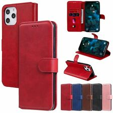For iPhone 11 Pro Max Motorola E6S Nokia Wallet Card Solid Leather Case Cover