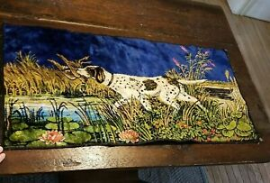 """Vintage Hunting Dog Tapestry Wall Hanging Lodge Cabin Décor 19"""" x 38"""" Rug"""