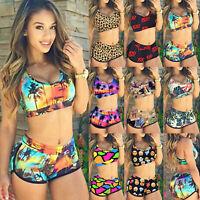 Women Floral Bikini Crop Top High Waist Shorts Beach Bathing Swimsuit Swimwear