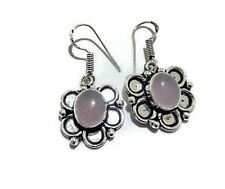 Gift For Her !! Rose Quartz Gemstone 925 Sterling Silver Plated Earring Jewelry