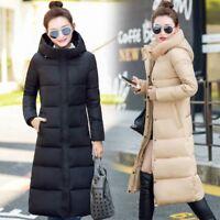 Winter Women Slim Long Cotton Down Coats Padded Jacket Hooded Warm Parka Outwear