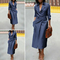 Womens Loose Long Sleeve V Neck Solid Ladies Sexy Work Formal Dress Long Dress