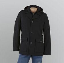Men's heavy Winter Wool blend long Black coat quilted hooded jacket size XXL$180