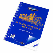 5 x A4 Spiral 160 Page Lined Paper Notebooks Memo Pads Feint Ruled Notepads Set