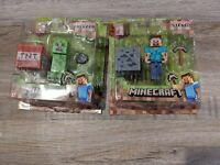 Minecraft Series 1 Overworld Steve and Overworld Creeper Figures. BNIP