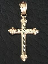 "Cross Pendant Charm Solid 14k Yellow Gold Small 1""x0.5"" Men's Or Women's ITALY"